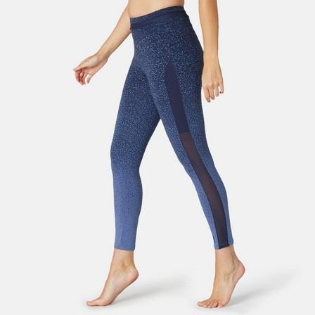 NYAMBA - W35 L31  Women's Slim-Fit Pilates & Gentle Gym Sport Leggings 520 Print, Blue