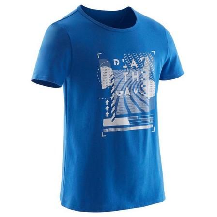 DOMYOS - 7-8Y  Boys' Recycled Short-Sleeved Gym T-Shirt 100 - Heathe Print, Royal Blue