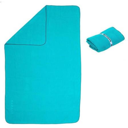 NABAIJI - Unique Size  Microfibre striped towel size L 80 x 130 cm, Teal Green