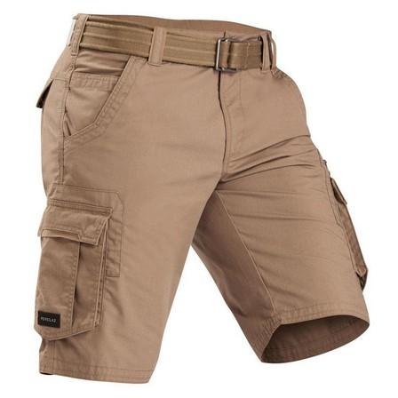 FORCLAZ - Small  Men's Travel Trekking Cargo Shorts - TRAVEL 100, Khaki Brown