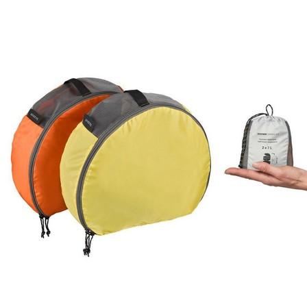 FORCLAZ - Unique Size  Pack of 2 Half-Moon Storage Bags for 50 to 70L Backpacks, Burnt Orange