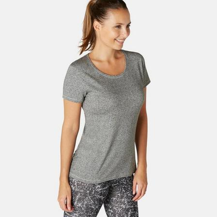 NYAMBA - 2XL  500 Women's Regular-Fit Gentle Gym & Pilates T-Shirt - Heathe, Grey