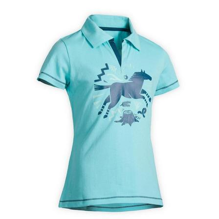 FOUGANZA - 14-15 Years  Horse Riding Short-Sleeved Polo Shirt 100, Turquoise Green
