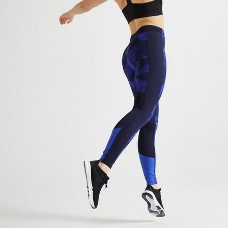 DOMYOS - W30 L31 / 120 Women's Fitness Cardio Training Leggings - Navy Blue