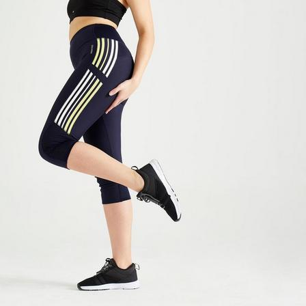 DOMYOS - W35 L31  High-Waisted Fitness Cropped Leggings, Grey
