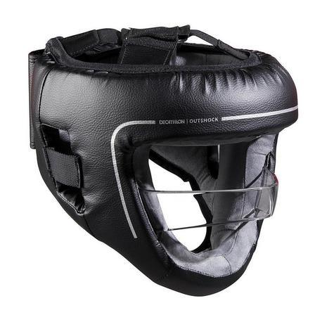 OUTSHOCK - 55-59 cm  Adult Boxing Helmet with Built-in Face Protection, Black