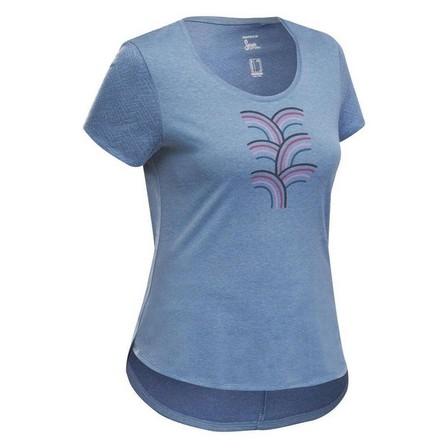 QUECHUA - Small  Women's Country Walking T-shirt - NH500, Blue Grey