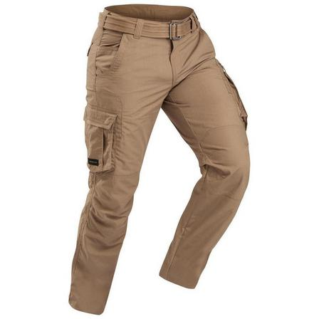 FORCLAZ - Small  Men's Travel Trekking Cargo Trousers - TRAVEL 100, Brown