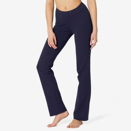 NYAMBA - W30 L31  Straight-Cut Cotton Fitness Leggings Fit+, Navy Blue