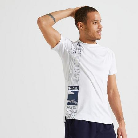 DOMYOS - Small  Technical Fitness T-Shirt, Snow White