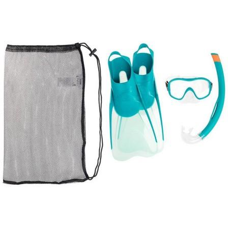 SUBEA - EU 42-43  Adult's diving snorkelling Fins Mask and Snorkel kit SNK 500, Petrol Blue