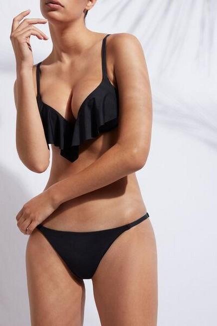 Calzedonia - Black Super-Padded Push-Up Indonesia Bikini Top With Ruffle, Women