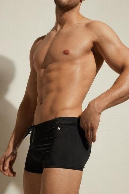 Calzedonia - Black Panama Boxer-Style Swimming Trunks, Men