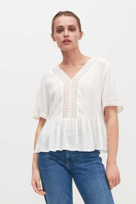 Reserved - White Lace Top With Peplum Hem, Women