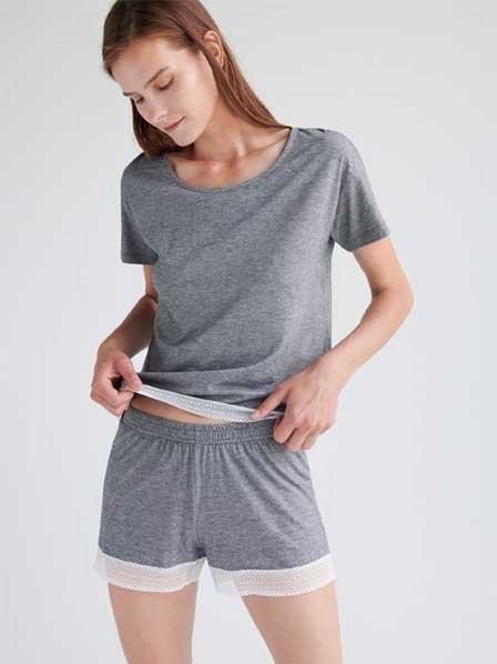 Reserved - Black Organic Cotton Rich Pyjama Set With Shorts, Women