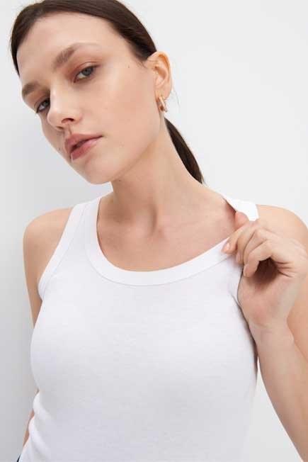 Mohito - White Organic Cotton Plain Top Eco Aware, Women