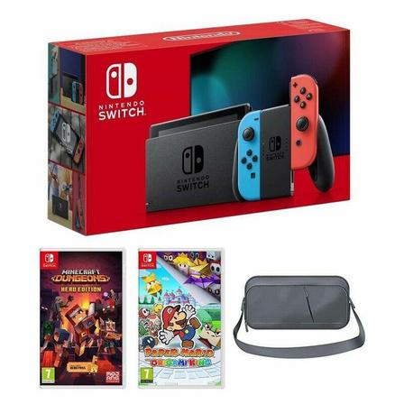 NINTENDO - Nintendo Switch Neon Joy-Con + Paper Mario Origami King + Minecraft Dungeons - Herd Edition + Sparkfox Travel Bag