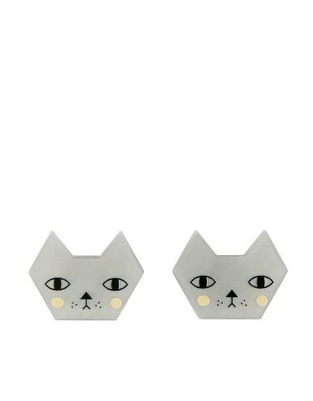 LITTLE MOOSE - Little Moose Faces Cat Stud Earrings