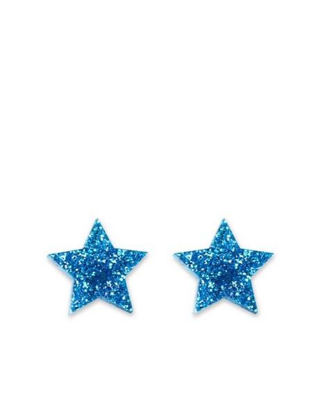 LITTLE MOOSE - Little Moose Space Unicorn Glitter Blue Star Stud Earrings