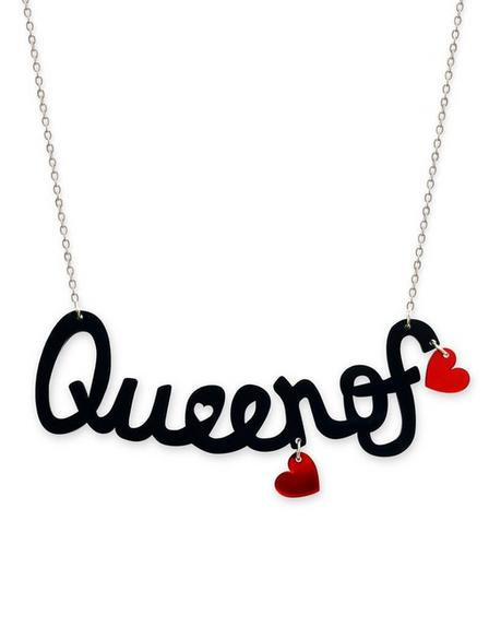 LITTLE MOOSE - Little Moose Alice In Wonderland Queen Of Hearts 'text' Necklace
