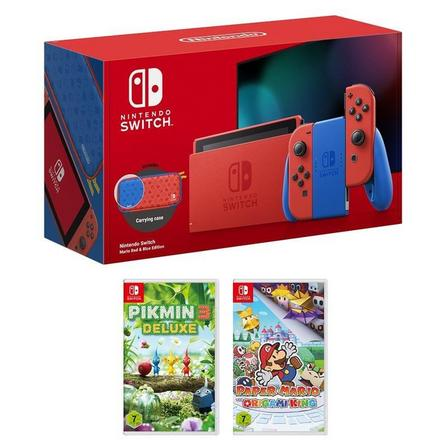 NINTENDO - Nintendo Switch Mario Red & Blue Edition + Paper Mario The Origami King + Pikmin 3 Deluxe