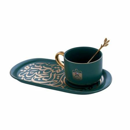 ROVATTI - Rovatti Pietra Alto Livello Mug With Ovale Plate Green [Set of 3]