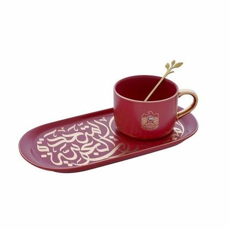 ROVATTI - Rovatti Pietra Alto Livello Mug With Ovale Plate Red [Set of 3]
