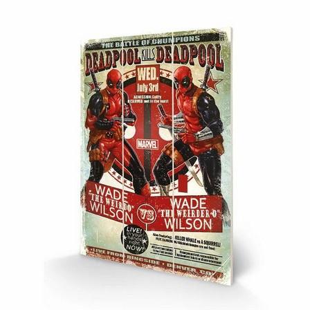 PYRAMID POSTERS - Pyramid Posters Marvel Deadpool Wade Vs Wade Wood Print(20 x 29.5 cm)