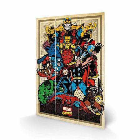 PYRAMID POSTERS - Pyramid Posters Marvel Comics Avengers To Action Wood Print (20 x 29.5 cm)