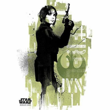 PYRAMID POSTERS - Pyramid Posters Star Wars Rogue One Jyn Grunge Canvas Print (60 x 80 cm)
