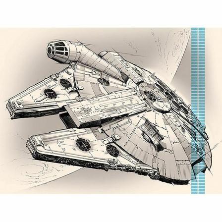 PYRAMID POSTERS - Pyramid Posters Star Wars Episode VII Millennium Falcon Pencil Art Canvass Print (60 x 80 cm)