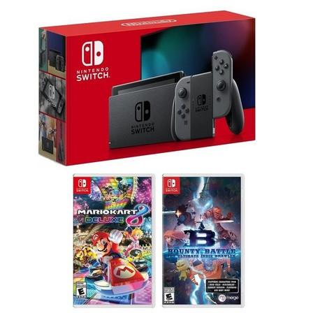 NINTENDO - Nintendo Switch 32GB Console with Grey Joy-Con + Mario Kart 8 Deluxe + Bounty Battle [US] (Bundle)