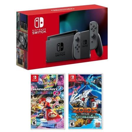 NINTENDO - Nintendo Switch 32GB Console with Grey Joy-Con  + Mario Kart 8 Deluxe + Zoid Wild Blast Unleashes [US] (Bundle)