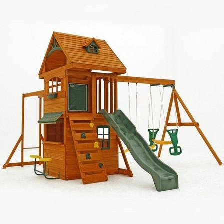 KIDKRAFT - Kidkraft Ridgeview Deluxe Clubhouse Wooden Swing Set