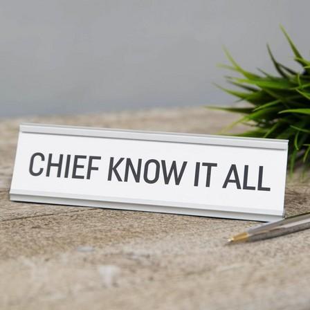 HARVEY MAKIN - Harvey Makin Chief Know It All Desk Plaque