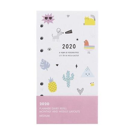 KIKKI.K - kikki.K 2020 Cute Monthly Weekly Diary Refill Med Be Kind White