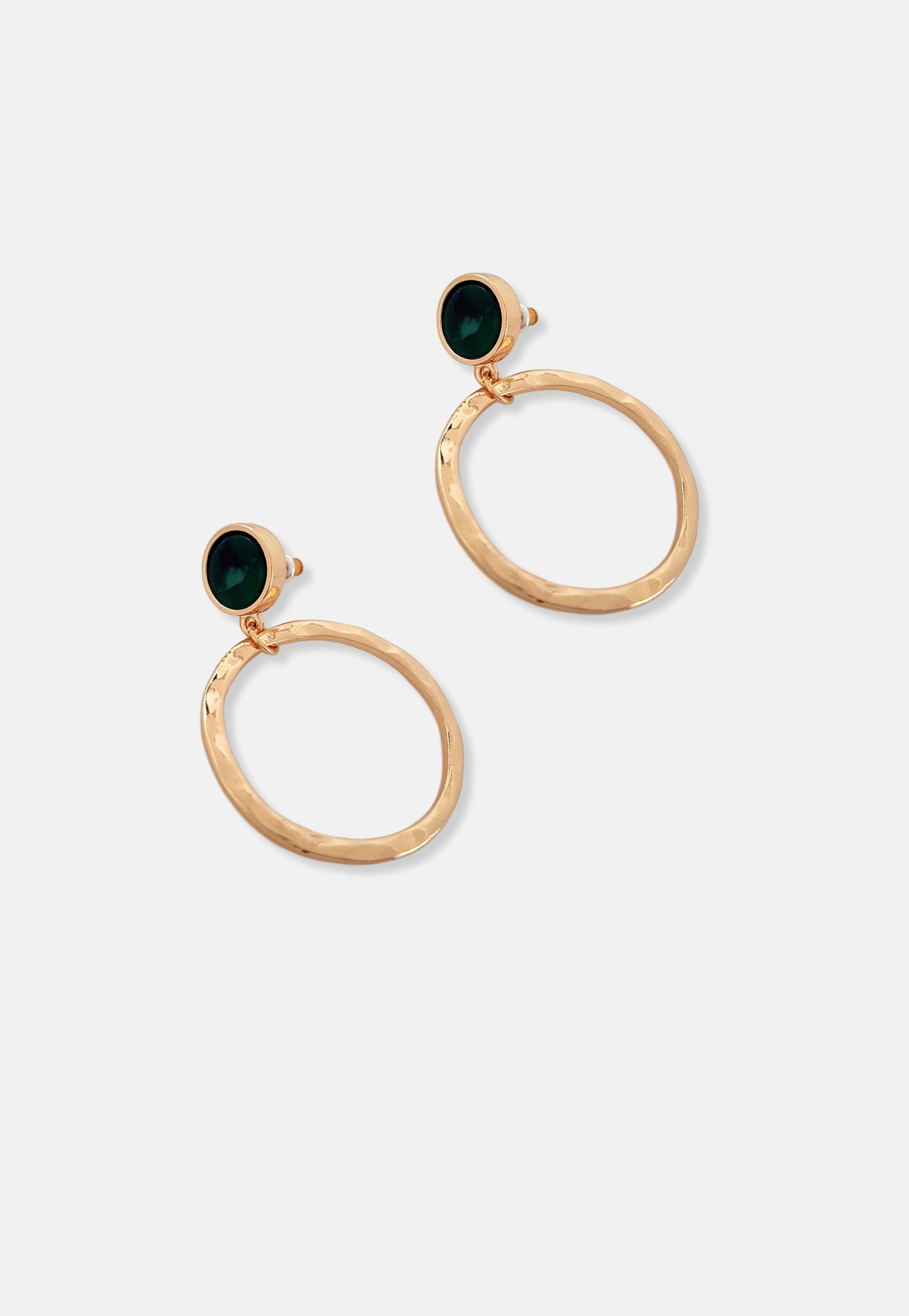 Missguided - Emerald Resin Ring Earrings, Women
