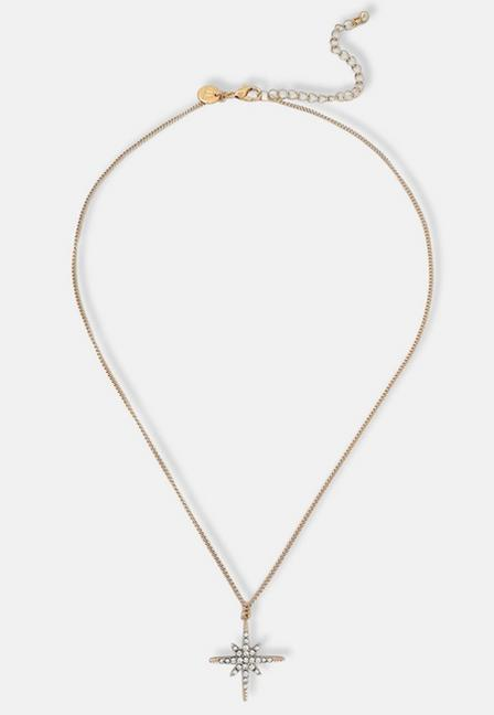 Missguided - Gold Pave Star Pendant, Women