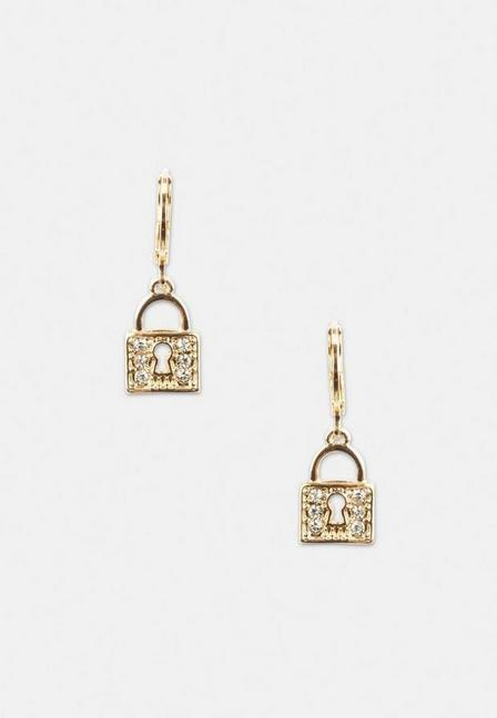 Missguided - Gold Look Pave Padlock Huggie Hoop Earrings, Women