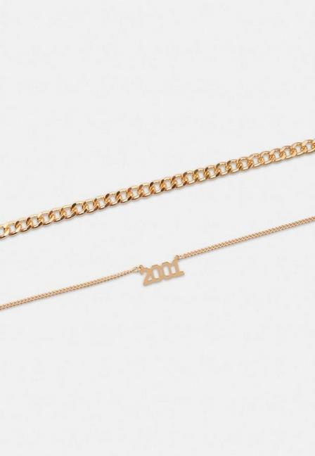 Missguided - Gold Look 2001 Chain Anklet 2 Pack, Women