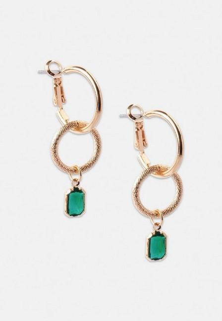 Missguided - Gold Look Double Hoop Drop Earrings, Women