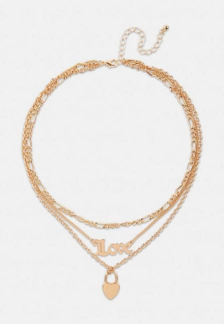 Missguided - Gold Look Love Heart Multirow Necklace, Women