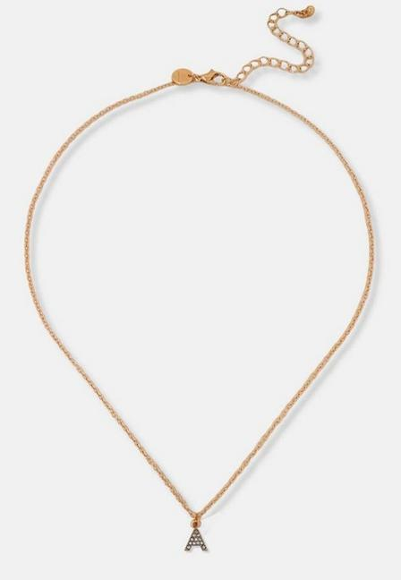 Missguided - Gold Look Pave A Initial Pendant Necklace, Women