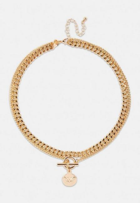 Missguided - Gold Look Butterfly Disc Multi Row Chain Necklace, Women
