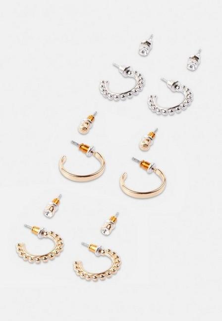 Missguided - Gold Look Stud And Hoop Earrings 6 Pack, Women