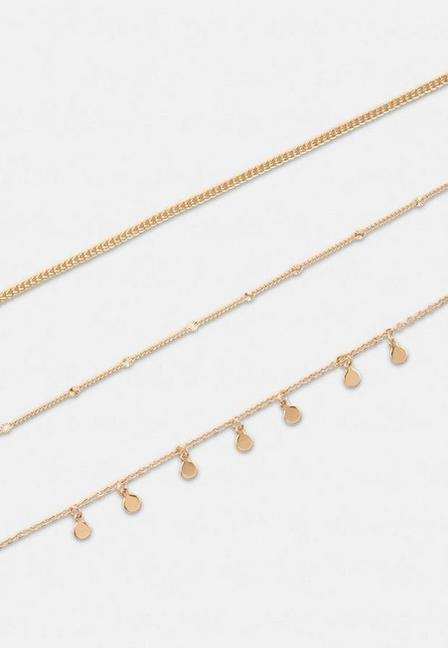 Missguided - Gold Look 3 Row Drop Chain Necklace, Women