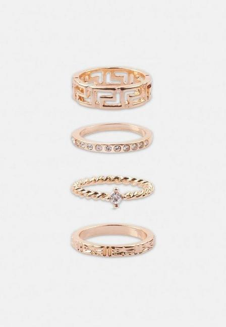 Missguided - Gold Look Geo Ring Multipack, Women