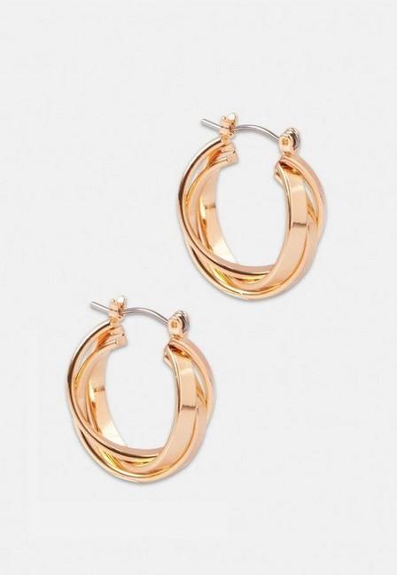 Missguided - Gold Look Overlay Hoop Earrings, Women