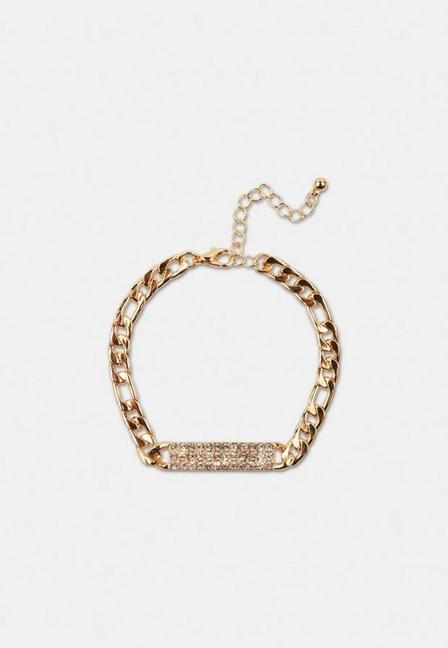 Missguided - Gold Look Pave Bar Chain Bracelet, Women
