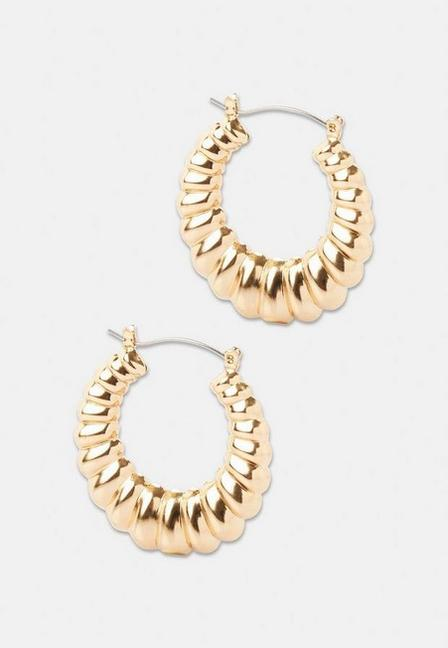 Missguided - Gold Look Smooth Textured Hoops, Women
